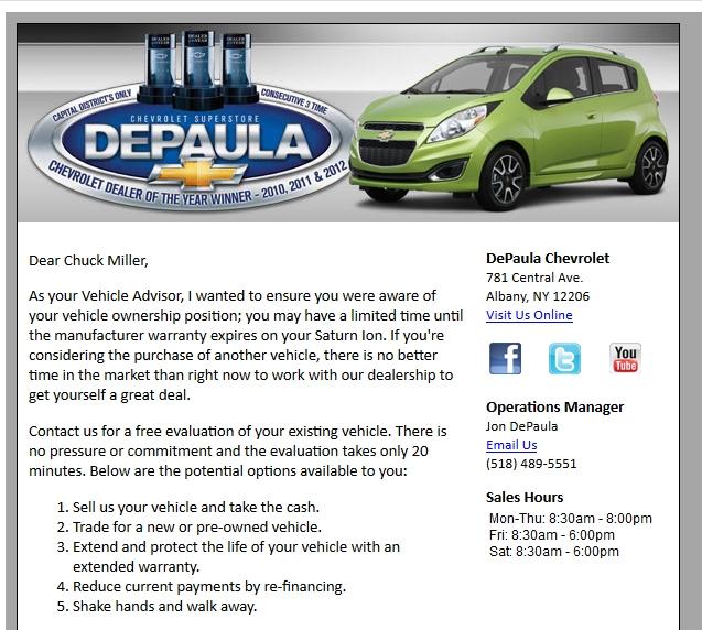 DePaula Chevrolet does not listen tome