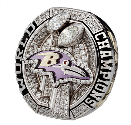 Jamal Lewis Super Bowl ring that sold in 2012 by Goldin Auctions for $49,770. Image courtesy of Goldin Auctions.