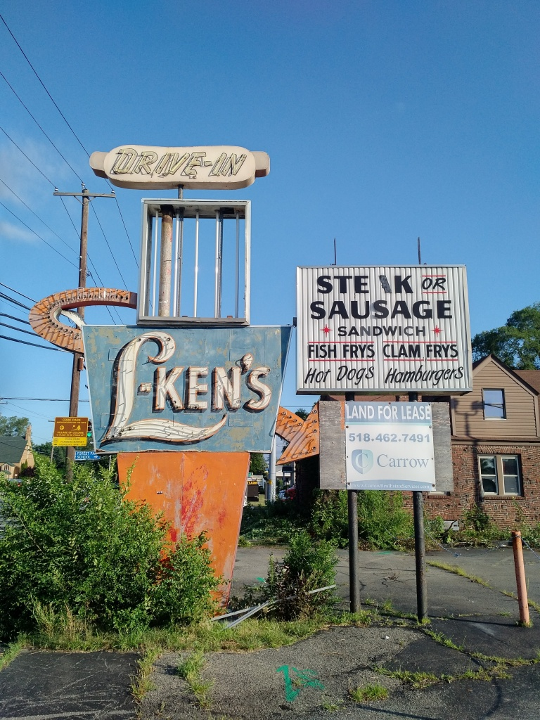 L-Ken's sign, restaurant, demolition began today