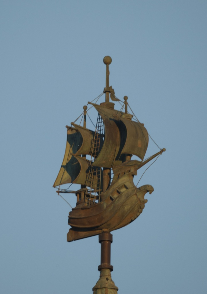 Half Moon weathervane.  Nikon Df camera, MC MTO-11 lens.  Photo by Chuck Miller.