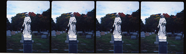 St. Agnes monument. Nimslo camera, Kodak Ektar 100 film. Photo by Chuck Miller.